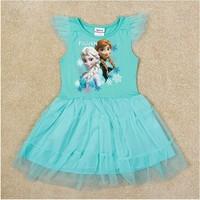 Free Shipping 2014 New Arrival Girls Frozen dress Baby Anna's Elsa's Princess dresses Kids Printed dress NOVA Cartoon Clothing