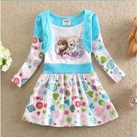 Free Shipping 2014 New Design Girls Frozen dress Baby Anna's Elsa's Princess dresses Kids frozen Printed Dress Cartoon Clothing