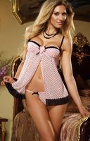2014 Lovely Designed Sweet pink polka dot lace trim halter bridal chemise lingerie Sexy women sleepwear babydoll wedding pajamas