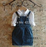 Fress shipping 1pcs Baby girl's cowboy suspender dress Girl's Denim strap dress Girl's Denim dresses