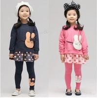 Free Shipping 2014 New Arrival Girls Rabbit Clothing sets kids Dot Korean Suits Baby Cartoon dress + Pants Cartoon Clothes set