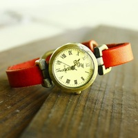 Vintage roman dial cowhide watchband watch male women's unisex watches