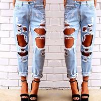 2014 New Arrival Women Skinny Boyfriend Hole Jeans Pants Free Shipping #P013