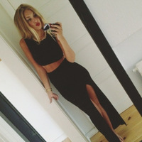 OM125 high side split outfits New fashion summer women Cropped Top Set,Two piece set  Bandage Bodycon Sexy Dress black