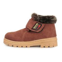 2014 Martin boots winter plus velvet boy skid  Genuine Leather  Foot length 14 ~ 22cm