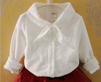 2014 NEW brand fashion baby girls white blouse spring/autumn child white bow long-sleeve shirt fashion college wind shirts