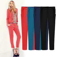 XS-6XL!! EUROPE New 2014 Autumn women fashion candy color skinny casual harem pants/Office Lady pencil pants elastic trousers