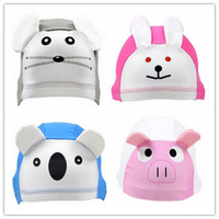 2014 New Brand Child Cartoon Swimming Cap Kid's Swim Hats [Pig Rabbit and  Koala  Mouse] 042