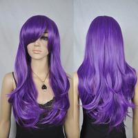 Women's Long Wavy Purple Heat Resistant Cosplay Costume Anime Full Hair Wig