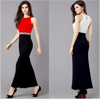 Evening Dress NEW 2014 Europe and America Fashion Women Dresses Round Collar Dew Shoulder Sexy Party dress Free Shipping