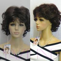 Elegant Lady Wavy Curly Short Medium Black Natural Looking Full Hair Wig