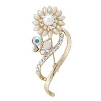 Fashion Women Rhinestone Gold Bee And Sunlower Pearl Brooch Pins,Free shipping