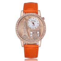 2014 Fashion watch quartz analog alloy Effiel Tower design big case crystal diamonds watch women leather strap wristwatches