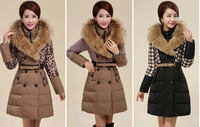 2014 winter new luxury raccoon fur wool double-breasted jacket stitching Rex Girls long section