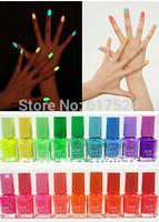 550pcs DHL free shipping  Popular 20 Color 7ml Nail Polish Fluorescent Luminous Neon Nail Art Polish Glow in Dark Nail Varnish
