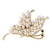 Fashion Women Rhinestone Acrylic Rose Gold Flower Brooch Pins,Free shipping