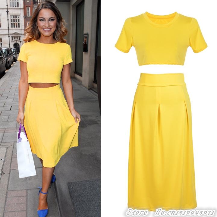 Dress crop top and dress clothing set yellow elegant work wear dress