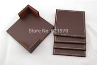 Free Shipping of 6pcs PU Square Coaster Set dish food placemat coffee tea drinks cup mat pad insulation mat coaster
