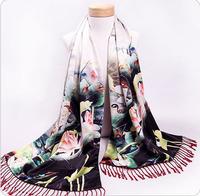Elegant Silk + Cashmere double-layer Women's Mandarin Duck Digital Printing Scarf Shawls Pashmina with tassels 190x55cm
