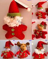 Wholesale Christmas tree decorations snowman Santa Claus deer cloth dolls 100pcs/lot mixed style free shipping