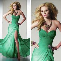 sexy Charming Long Green Chiffon Evening Party Prom dress Ball Gown custom