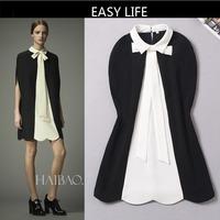 2014 NEW arrive Hight quality Women`s Dress ,Runway Brand Design Autumn Dress with Bow