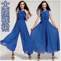 Dropshipping! 2014 Europe Fashion wide leg jumpsuit  Loose plus size woman jumpsuits