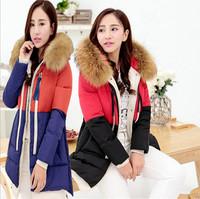 2014 New Arrival winter Wadded jacket Luxury fur collar thickening Down coats medium-long Female Parka Overcoat Q169