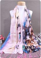 Elegant Silk + Cashmere double-layer Women's Flowers Digital Printing Scarf Shawls Pashmina with tassels 190x55cm