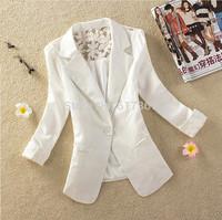 A++ Women Blazer Lace Back 2014 New Autumn Suit Deep V-neck Blaser Jacket Ladies Pads Shoulder One Button Coat S-XXL 4 Colors