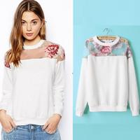 Floral Printed Sweatshirt 2014 New Perspective Sweatshirts Spring and Autumn Fashion Women Hoody moleton feminino Pullover