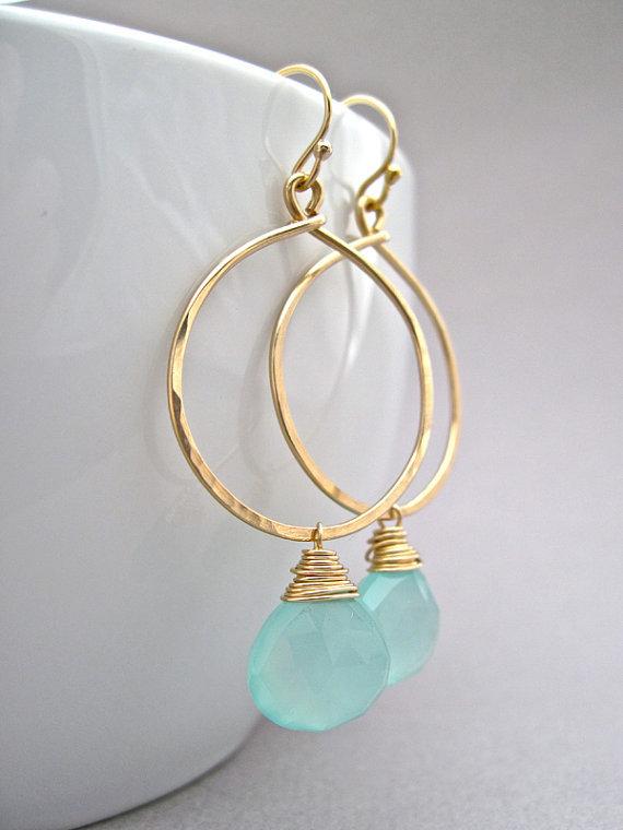 Aqua Chalcedony Gold Earrings, Handmade Earrings in 14K Gold Filled, Aqua Blue Green Turquoise Crystal Earrings(China (Mainland))