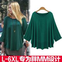 6XL 5XL 2014 Autumn large size women's loose T-shirt  bat sleeve Women Tops Blouse blusas femininas atacado roupas femininas