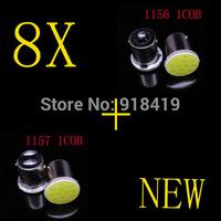 2014 new wholesale 4X 1157 BAY15D 1COB + 4X 1156 BA15S 1COB Car LED Brake Lights Brake Turn Light Automobile Wedge Lamp
