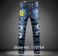 2014 Autumn Newest  DSQ Men Brand Ripped Jeans Blue Washed Plastic Flowers Paste Design Holes D2 Painted Denim Pants Size 28~36