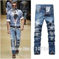 2014 Autumn Fashion Men Models Brand Jeans DSQ Blue Washed White New Design Hole Patchwork D2 Denim Jeans Size 28~36