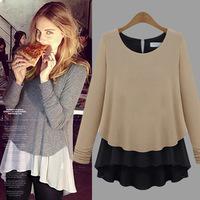 2014 New European knit stitching chiffon women blouse Autumn T shirt long sleeve tops blusas femininas