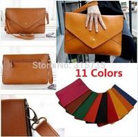 Wholesale 100PCS Women lady Clutch Envelope Handbag Purse Messenger HOBO Bag PU leather for Ipad 11 colors Big size 35*24cm