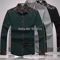High Quality!New Mens Long Sleeve Shirts Famous Brand Casial Plaid Neckline Long Sleeves Shirt For Men's Designer Long T shirt