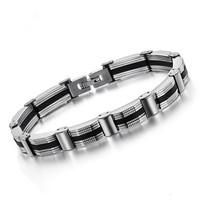 Cool Silver & Black Stainless Steel Embedded Bracelets & Bangles Fashion Men Jewelry Korean Fashion Man Bracelet Bangle GS627