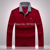 High Quality!New Mens Long Sleeve T Shirts Famous Brand Plaid Neckline Long Sleeves T shirt For Men's Designer Long T shirt