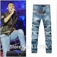Man D Jeans Brand 2014 Fashion Blue Vintage Ripped Metal Rivet Design Famous Slim Denim Pants New Style Model Man Jeans
