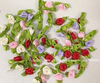 100Pcs Satin Ribbon Roses Flower Appliques Scrapbooking Sewing DIY Craft Decor Free Shipping