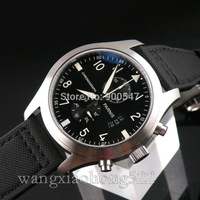 Details about 46mm Parnis black dial illumination mens date WATCH full Chronograph P347