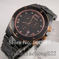 Details about black ceramic rose gold crystal date polygon Quartz chronograph wrist Watch R25