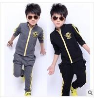 autumn 2014 children's new boutique children's sports sleeve cotton leisure suit for boys 5-15Y