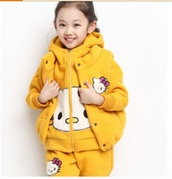 2014 new autumn models big virgin girls sweater three-piece cat suits children set 3-10 ages free shipping