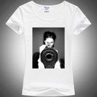 New 2014 Summer gun Printing T shirt For woman White Shorts Tops & Tees cotton T-Shirt good quality wholesale