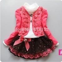2014 New girls 3pcs clothing dress sets knitted coat+lace shirt+bow tutu skirt children girls dress suits kids clothing set