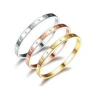 Free shipping 925 silver bracelet 18K rose gold bangle lovers fashion jewelry titanium steel bracelets